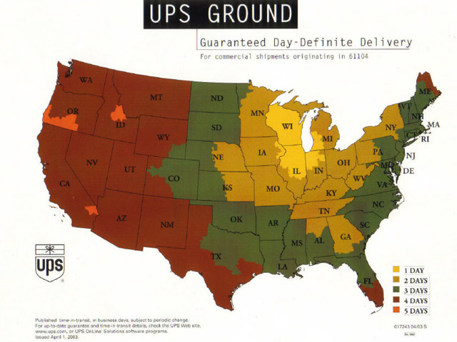 UPS SHIPPING MAP from WMS1